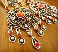 Tribal Red Rhinestone Drop Filigree Chandelier Earrings