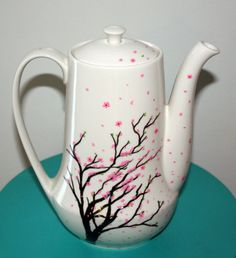 Hand Painted Wind Blown Cherry Blossom Tree Pink Sakura Tall Ceramic Teapot with Lid Quirky Fun Tea Service Gift. $30.00, via Etsy.