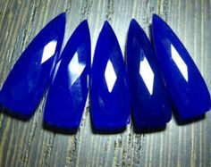 4 Matching Pairs- Cobalt Blue Chalcedony Faceted Fancy Briolette -Stones measure- 26x8mm