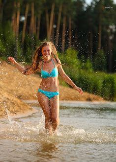 Active girl on the beach