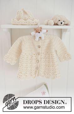 Sweet Buttercup / DROPS Baby 19-8 - Kostenlose Häkelanleitungen von DROPS Design Crochet Baby Bonnet, Crochet Bebe, Crochet Girls, Crochet For Kids, Free Crochet, Crochet Jacket Pattern, Crochet Baby Sweaters, Crochet Baby Cardigan, Crochet Baby Clothes