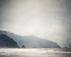 Land's End - Cannon Beach in Fog, Oregon, Landscape Photography,  Winter, Ocean, Mountains, Sea, Silver, Paloma Gray, Charcoal