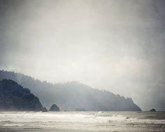 Oregon Landscape Photography Cannon Beach by EyePoetryPhotography (Art & Collectibles, Photography, Color, Cannon Beach, Fog, Winter, Ocean Art, Gray, Oregon, Pacific Coast, Wall Art, Mountain Art, Fine Art Photography, Ocean Waves, Coastal Art, Landscape)
