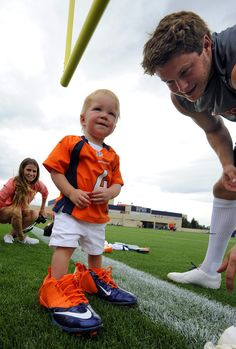 Broncos punter Britton Colquitt with his son #broncos #Denver #gobroncos #afcchamps