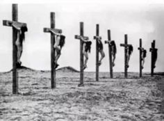 "The crucifixion of Christian girls by the Turks in 1915 during the Armenian Genocide. This photograph is taken from a movie re-enactment of the genocide memoir ""Ravished Armenia"". In real life, the girls were executed by impalement through the vagina. World War I, World History, History Class, History Books, Crime, Muslim Brotherhood, Christian Girls, Knights Templar, Christianity"