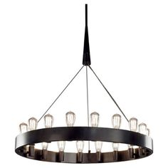 Candelaria Large Chandelier by Robert Abbey. Deep Bronze finish, 18 x 40W lamps. General light distribution.