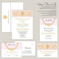 Blush Pink Wedding Invitations Fleur de Lis by paperimpressions, $312.50