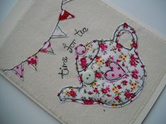 A fresh lovely card for any occasion, made using pretty fabrics machine embroidered on to calico.This card is very versatile and also looks