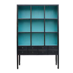 "Price:	$899  Name: 	Zoe Cabinet in Aquamarine  SKU#:	SH-262BAQ  Description:	Made Exclusively for Urban Home    Made of Bamboo Wood    Dimensions: 67""w x 18""d x 91""h    Interior Shelving Colors available in Aquamarine, Orange or Black    Shown in Aquamarine"