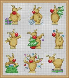 Rudolph Christmas a Cards - PDF Cross Stitch Patterns - Instant Download