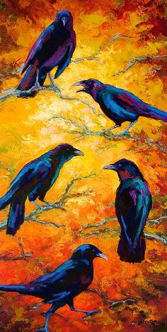"""But of COURSE they are Gossiping!! A Group of Ravens' is called a """"Storytelling"""" after all!!! """"Gossip Column II"""" by Marion Rose"""