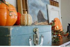 Vintage Blue Case on Fall and Halloween Mantel