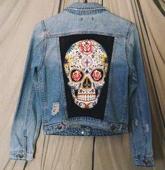 Sugar Skull Patch dos veste en Jean en détresse de belles femmes