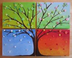 Four Seasons Button Tree Wall Art - Busted Button Easy Canvas Painting, Simple Acrylic Paintings, Easy Paintings, Canvas Art, Canvas Paintings, Tree Canvas, Canvas Ideas, Diy Canvas, Popular Paintings