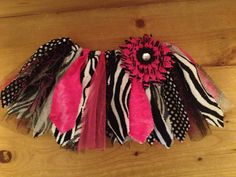 Hot Pink, Zebra, and Polka Dots Scrap Fabric Tutu