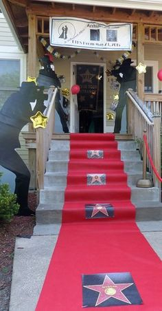 Red Carpet Hollywood Backdrop w/paparazzi Prom Setup..