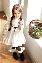 wholesale kids girl winter white princess lace dress, toddler warm dress for Christmas party, wholesale girls clothes birthday(China (Mainland))