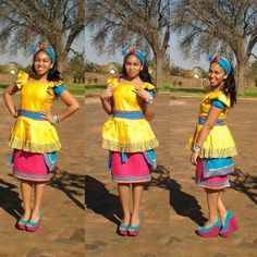 Sepedi Traditional Wedding Dresses Designs Pictures with the Designers Collection for Bridal Outfits Photos are shared here Sepedi Traditional Wedding Dresses Designs are still in the latest fashion trends these days. African Print Dresses, African Print Fashion, Africa Fashion, African Fashion Dresses, African Dress, African Prints, Pedi Traditional Attire, Traditional Wedding Attire, Traditional Fashion