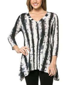 Another great find on #zulily! Black & Gray Tie-Dye Tunic - Plus by A La Tzarina #zulilyfinds