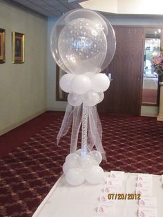 """Just Married"" Double Stuff Wedding Balloon Pedestal Centerpiece"