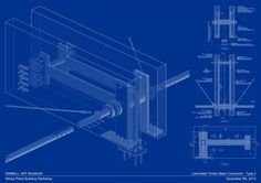 Detail Drawing of Laminated Timber Beam Connector. Pavilion by Renzo Piano in the Kimbell Art Museum. Courtesy Renzo Piano Building Workshop. Click above to see larger image.