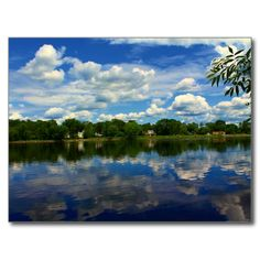 Penobscot River Afternoon Reflections Postcard (Pkg of 8) by KJacksonPhotography -- Taken 06.22.2014 Penobscot River afternoon reflections on the N. 4th St Trail in Old Town, Maine #nature, #maine, #river, #reflections, #clouds, #cloudreflections