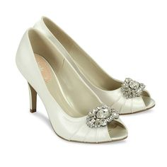 """New Pink Paradox London ivory heels just arrived. Style Name is Tender, eep toe, pleating and a fabulous large rhinestone ornament at the toe. 3"""" heel.  Aisle style that won't break your budget! See more here: https://perfectdetails.com/Tender.htm"""