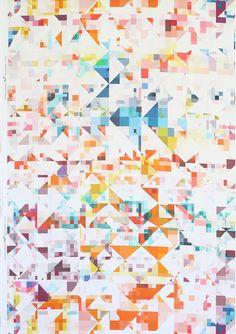 "Colourful Geometric Print Linen Fabric ""Northmore Major"" designed by Rachel Parker for FLOCK"
