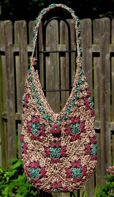 Mix of Browns Neutral Tone Granny Square Bag with Button and Loop Closure- Crochet. Looks like it's majorly granny squares with a few triangles thrown in for good measure. Crochet Market Bag, Crochet Tote, Crochet Handbags, Crochet Purses, Bead Crochet, Crochet Granny, Crochet Motifs, Crochet Blanket Patterns, Crochet Stitches