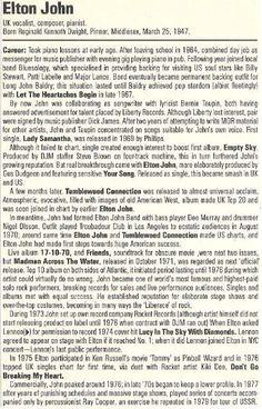 John, Elton / History of Elton John | Magazine Article (1986)