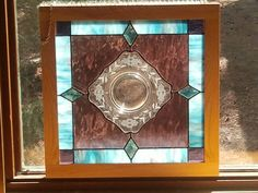 Vintage etched plate stained glass project with bevels- my design