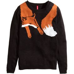 0b268b1e23c1 H&M Jacquard-knit jumper (255.615 IDR) ❤ liked on Polyvore featuring · Fox  SweaterAnimal ...