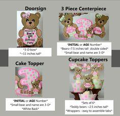 TEDDY BEAR Birthday Party Decorations Teddy Bear by bcpaperdesigns