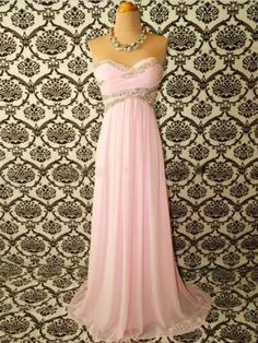 Pink Strapless Sweetheart Beading Floor-Length Chiffon Maxi Dress