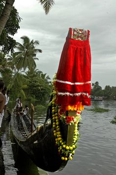 A racing snake boat on Kerala Backwaters, India