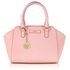 DKNY Bryant Park Saffiano Leather Small Tote ($320) ❤ liked on Polyvore featuring bags, handbags, tote bags, pink, dkny tote bag, structured handbag, dkny handbags, structured tote bag and pink purse