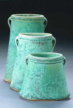 turquoise stoneware vases by George Lowe Ceramic Clay, Ceramic Pottery, Pottery Art, Earthenware, Stoneware, Keramik Vase, Shades Of Turquoise, Green Turquoise, Contemporary Ceramics
