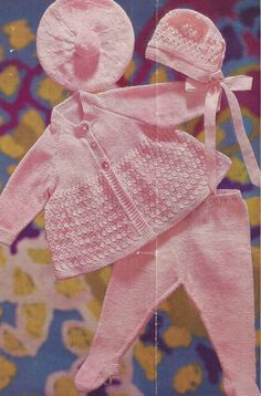 """PDF Vintage Knitting Pattern Baby Matinee Coat Set with Bonnet and Beret 19-21"""" (Y313)"""