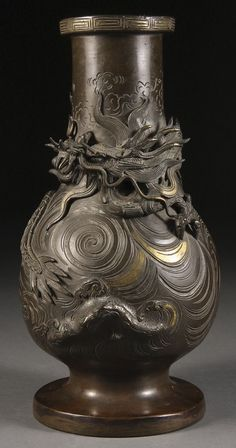 www.liveauctioneers.com item 11165492_a-good-japanese-bronze-dragon-vase-meiji-period