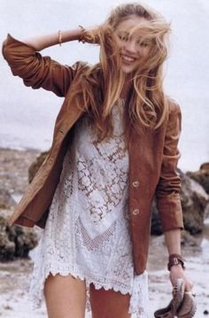white lace dress (a little to short), leather jacket