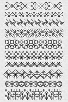 Blackwork Sampler Kit by Florashell Cross Stitch Design. Motifs Blackwork, Blackwork Cross Stitch, Blackwork Embroidery, Cross Stitch Borders, Cross Stitching, Cross Stitch Embroidery, Embroidery Patterns, Hand Embroidery, Cross Stitch Patterns