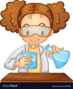 Young girl scientist vector image on VectorStock Color Worksheets For Preschool, Preschool Science, Science Classroom, Science Art, Science Activities, Preschool Crafts, Scientist Cartoon, Science Lab Decorations, Science Clipart