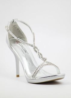 "Silver Prom shoes with 4"" heels and 1/2"" platform (Style 700-5) $29.99"