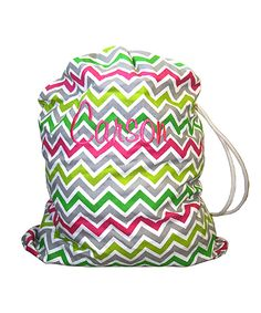 Lime & Pink Chevron Personalized Laundry Bag by Avondale Boutique #zulily #zulilyfinds