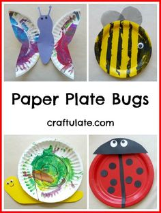 Here's how to make paper plate bugs with the kids: a ladybug, a bee, a snail and a butterfly.
