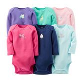 With cute colors and characters, these bodysuits keep her outfits sweet and simple.<br>