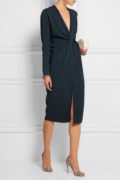 Lanvin|Twist-front crepe dress|NET-A-PORTER.COM