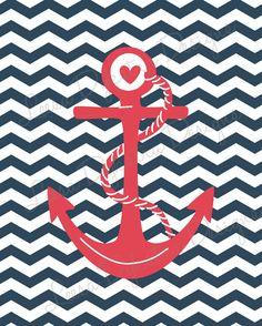 Chevron Nautical Anchor Wall Art Printable by LeesaDykstraDesigns, $5.00