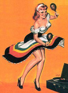 Peter Driben Vintage Pin Up Girl Illustration Pin Up Retro, Retro Art, Pin Up Girls, Kitsch, Jorge Gonzalez, Pin Up Illustration, Pin Up Photography, Nose Art, Pulp Art