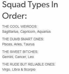 12 Zodiac Signs Squad Types in Order. Cancer ♋ Zodiac Sign - The Sweet Bitches 12 Zodiac Signs Squad Types in Order. Cancer ♋ Zodiac Sign - The Sweet Bitches Zodiac Sign Traits, Zodiac Signs Astrology, Zodiac Star Signs, Zodiac Horoscope, Cancer Zodiac Signs, Cancer Zodiac Compatibility, Zodiac Signs Couples, Le Zodiac, Zodiac Posts
